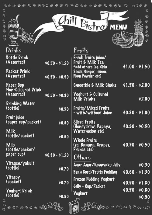 Cold Drinks/ Cut Fruits Stall Menu (Chill Bistro)