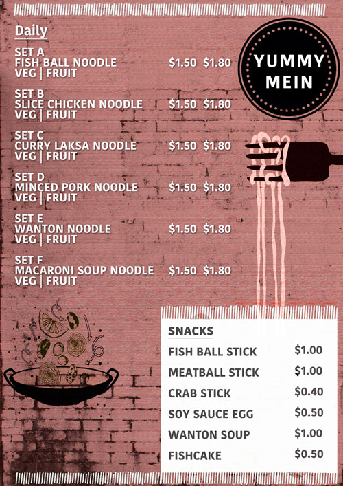Soup Noodle Stall Food Menu (Yummy Mein)