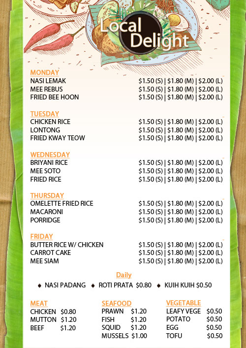 Malay Stall Food Menu (Local Delight)